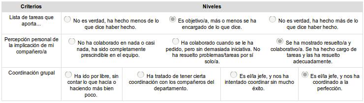 Rúbrica de Evaluación Interna de para cada miembro del departamento